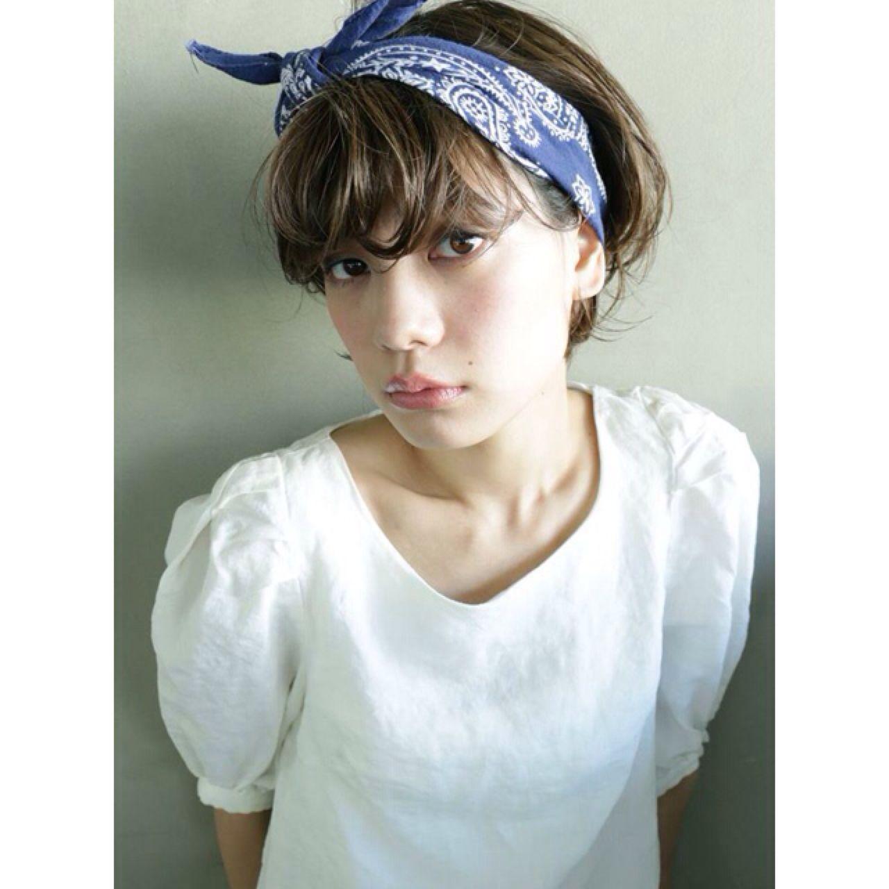 ナチュラル ショート ヘアアレンジ 簡単ヘアアレンジヘアスタイルや髪型の写真・画像
