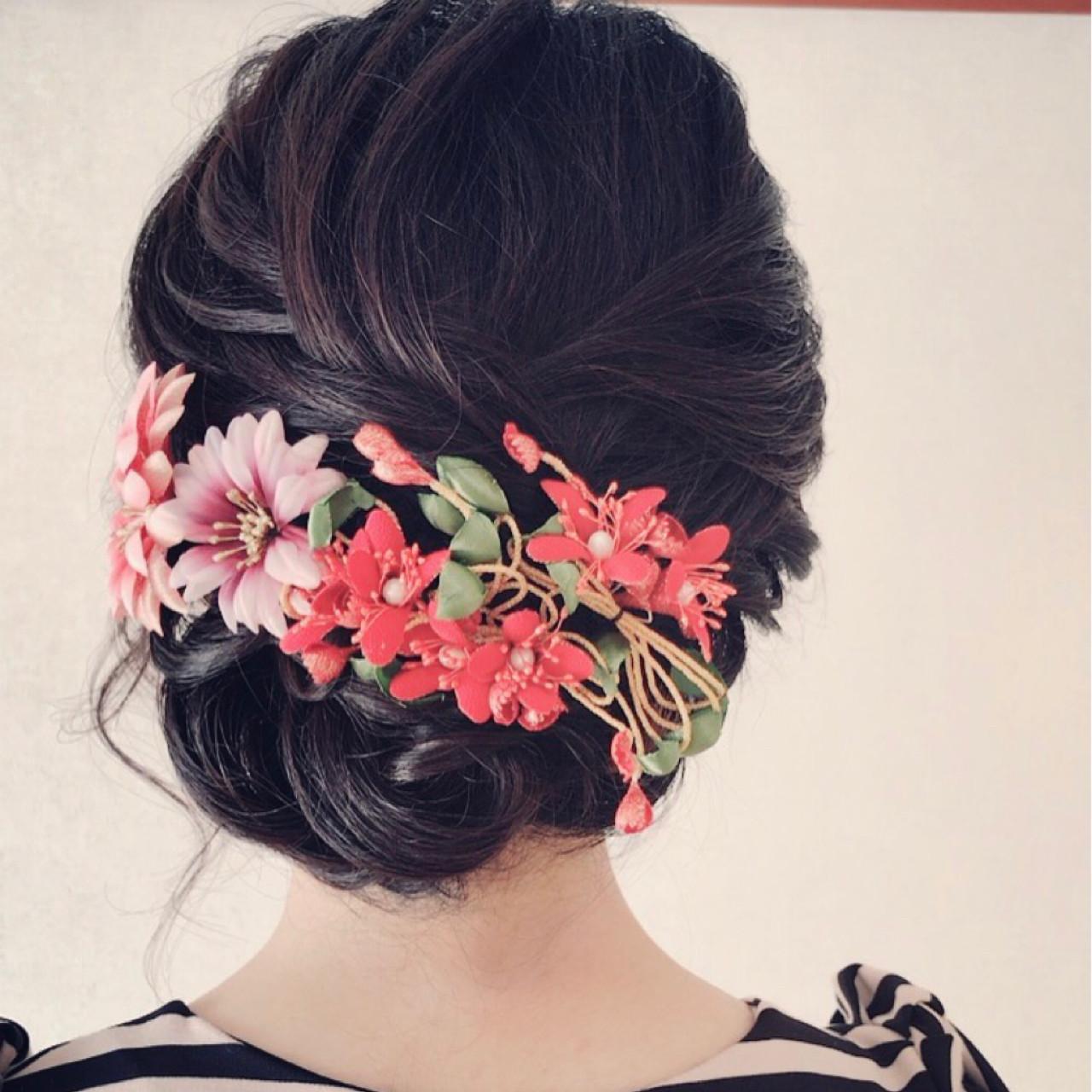 ミディアム 着物 フェミニン ヘアアレンジヘアスタイルや髪型の写真・画像