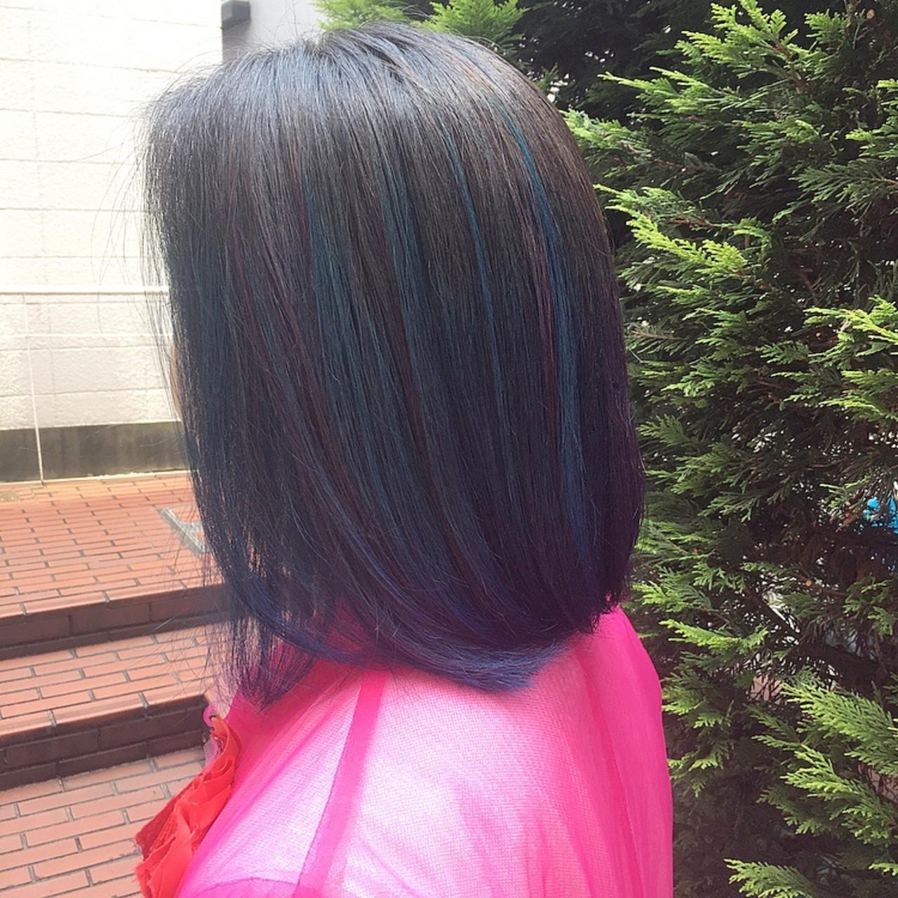 ハイライト エレガント ボブ ブルーヘアスタイルや髪型の写真・画像
