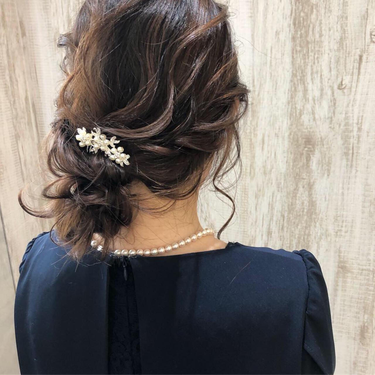 結婚式ヘアアレンジ ミディアム 大人かわいい 結婚式ヘアスタイルや髪型の写真・画像