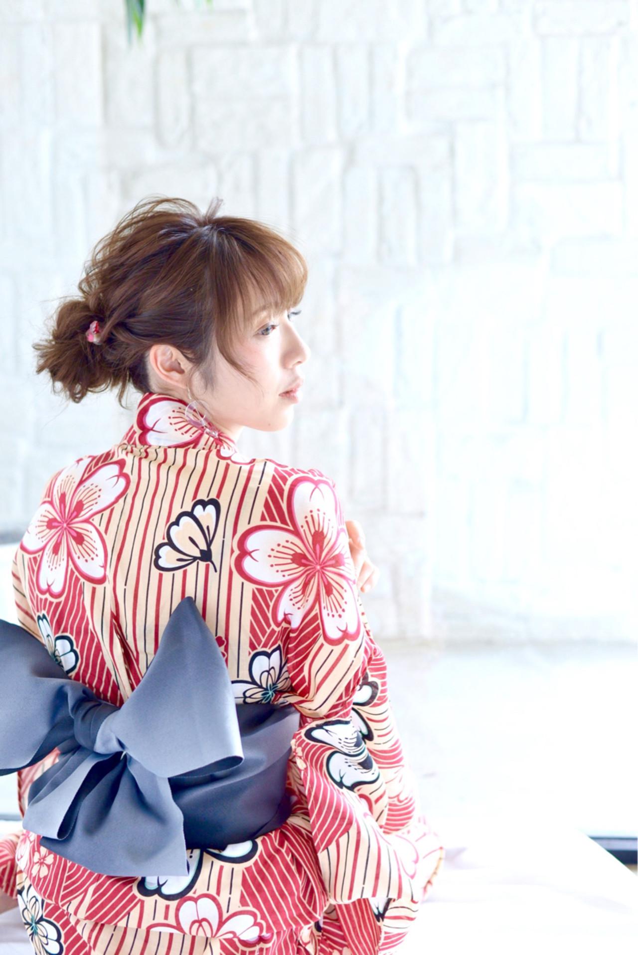 ナチュラル 花火大会 ヘアアレンジ セミロングヘアスタイルや髪型の写真・画像