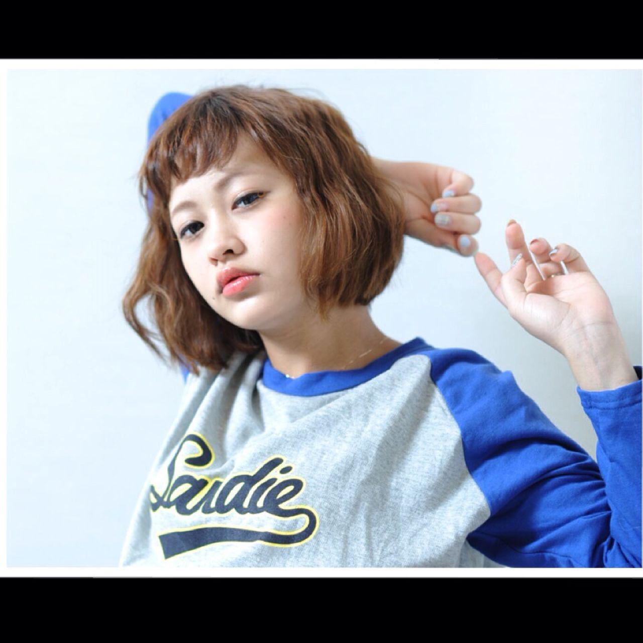 ボブ 抜け感 ウェーブ パーマ ヘアスタイルや髪型の写真・画像 | 川端梨紗 / lafith hair vail
