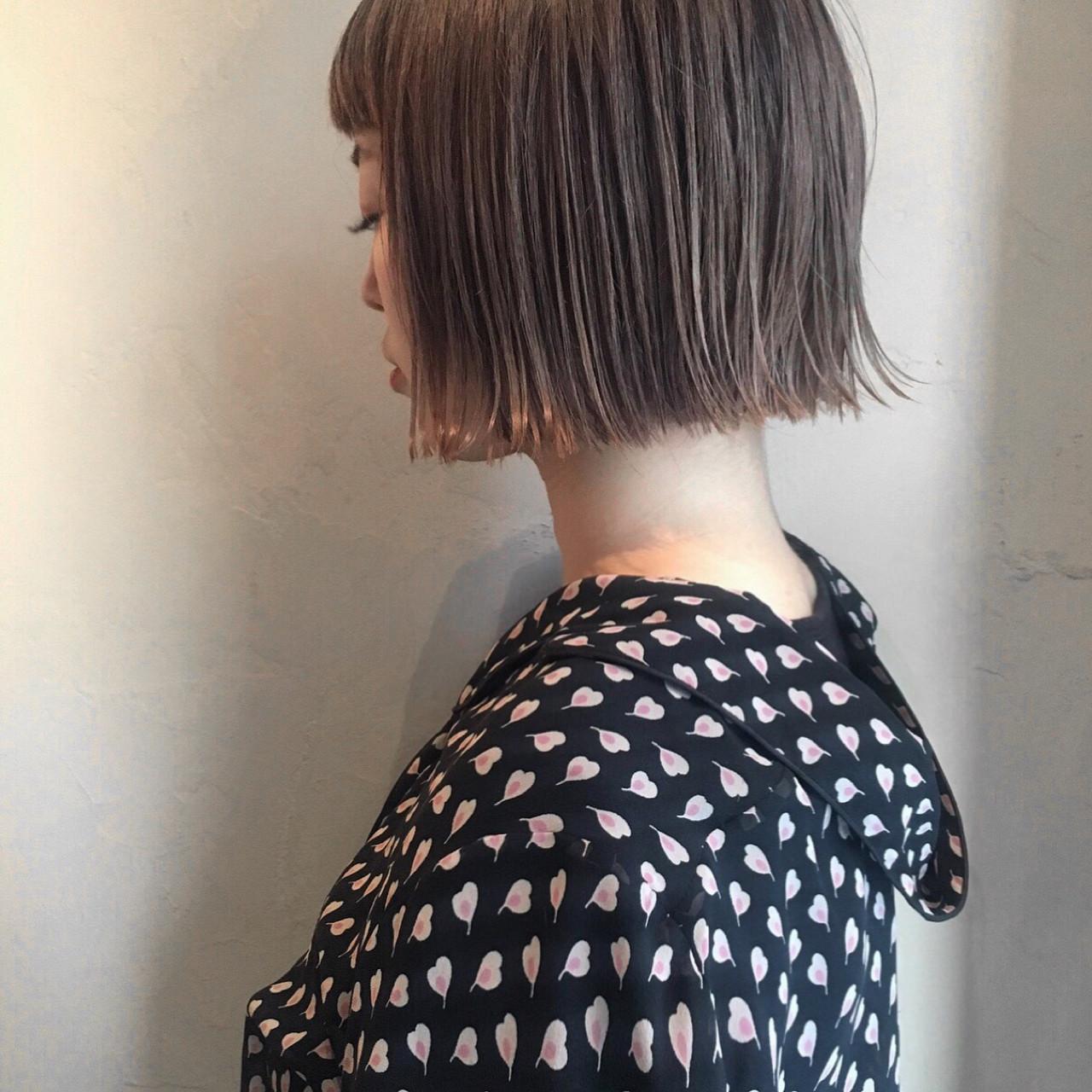 ロブ 切りっぱなし ボブ ミディアムヘアスタイルや髪型の写真・画像