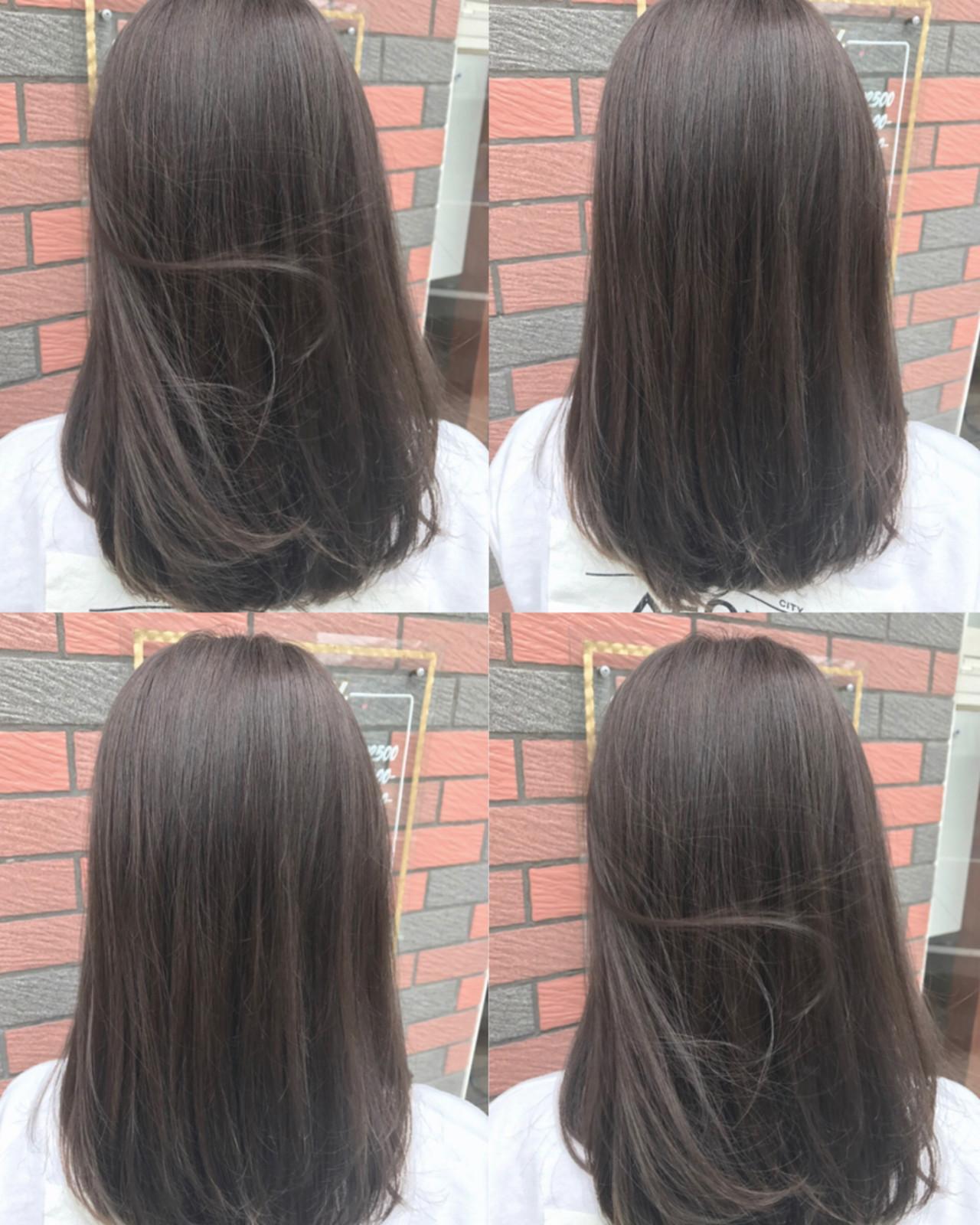 外国人風カラー 透明感 グレージュ フェミニンヘアスタイルや髪型の写真・画像