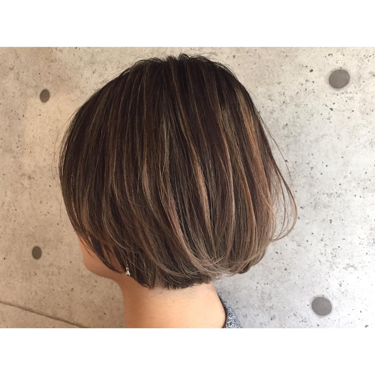 ナチュラル 色気 ハイライト ショートボブ ヘアスタイルや髪型の写真・画像 | MORNING.miya/@1031miya / HAIR MORNING.