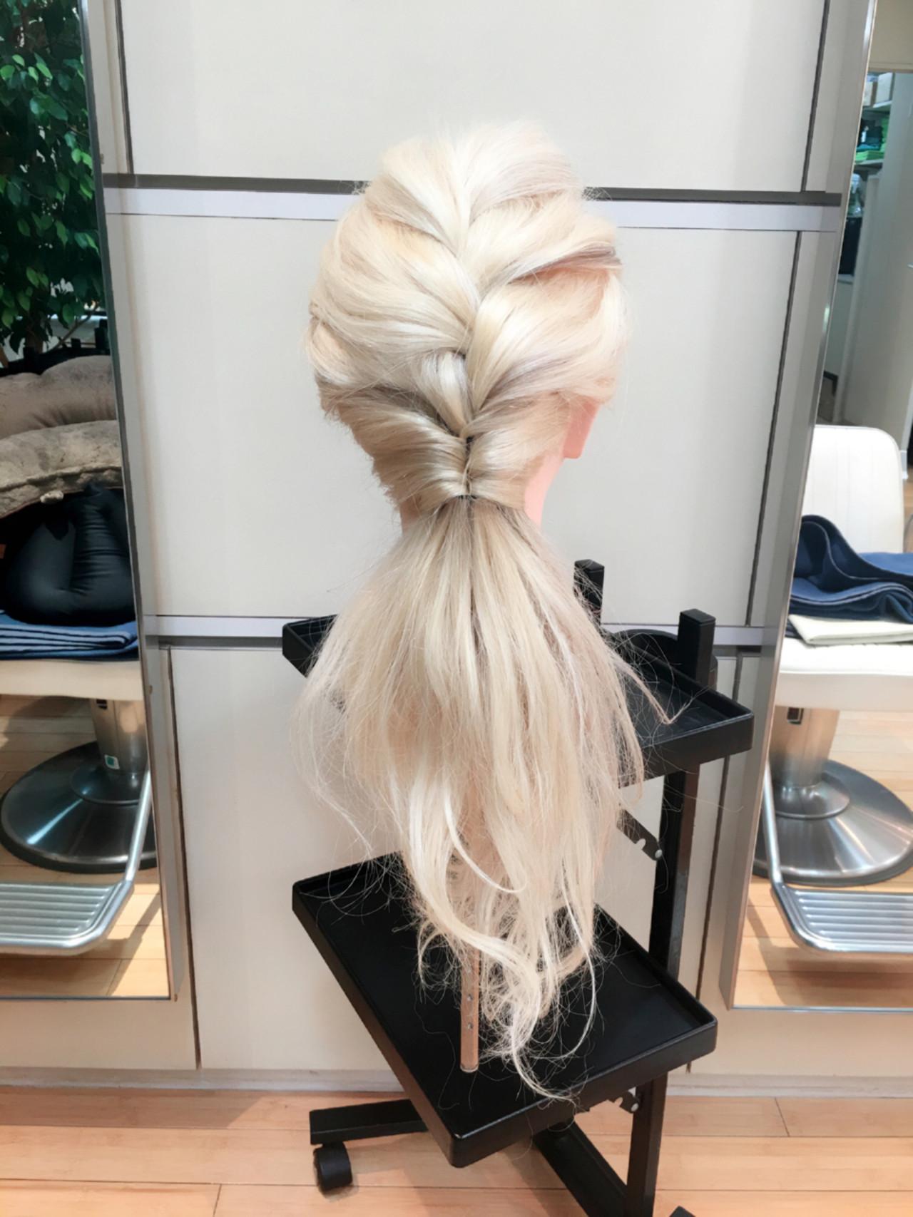 簡単ヘアアレンジ 編み込み ローポニーテール ショート ヘアスタイルや髪型の写真・画像   maiko / Hairdressing b.h.(ベーアッシュ)