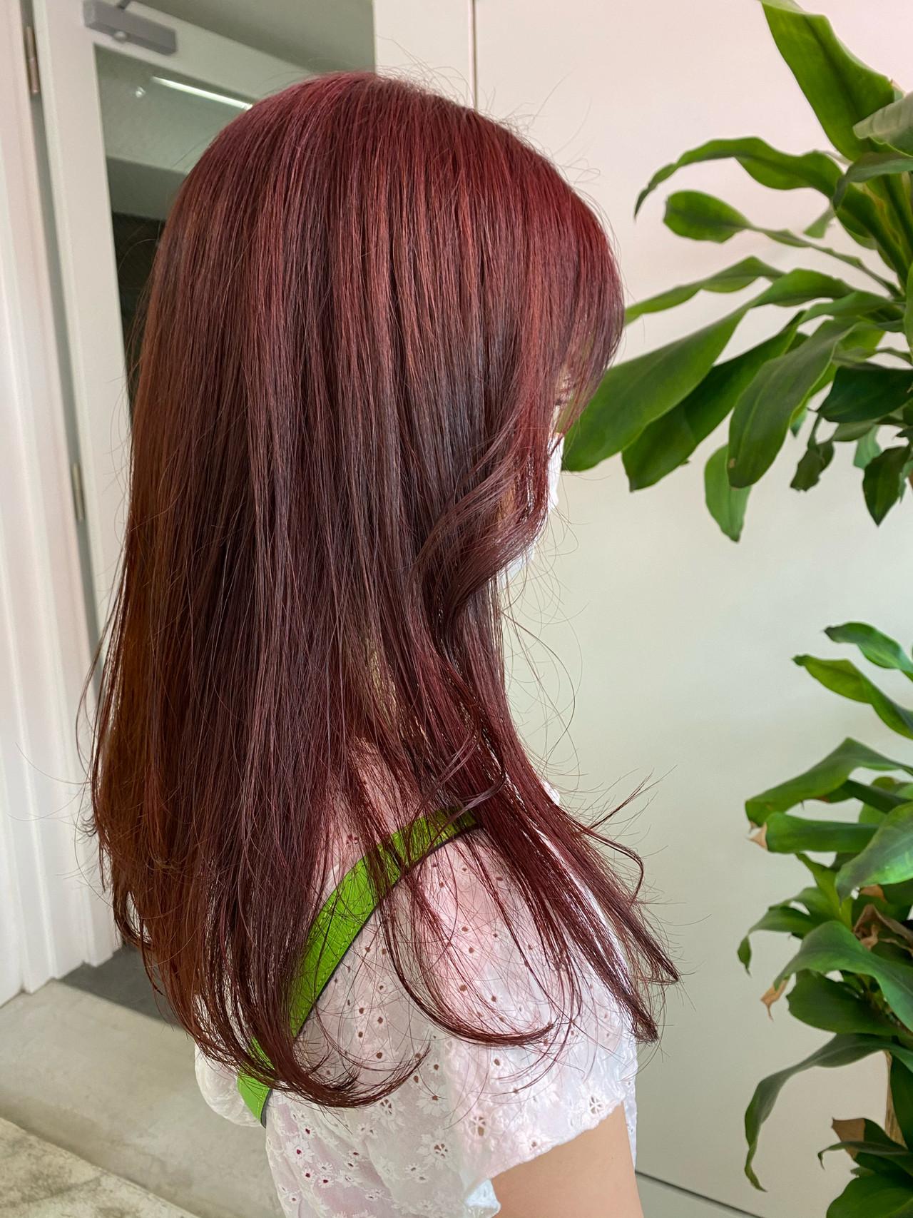 ピンクベージュ ラベンダーピンク ロング ベリーピンクヘアスタイルや髪型の写真・画像