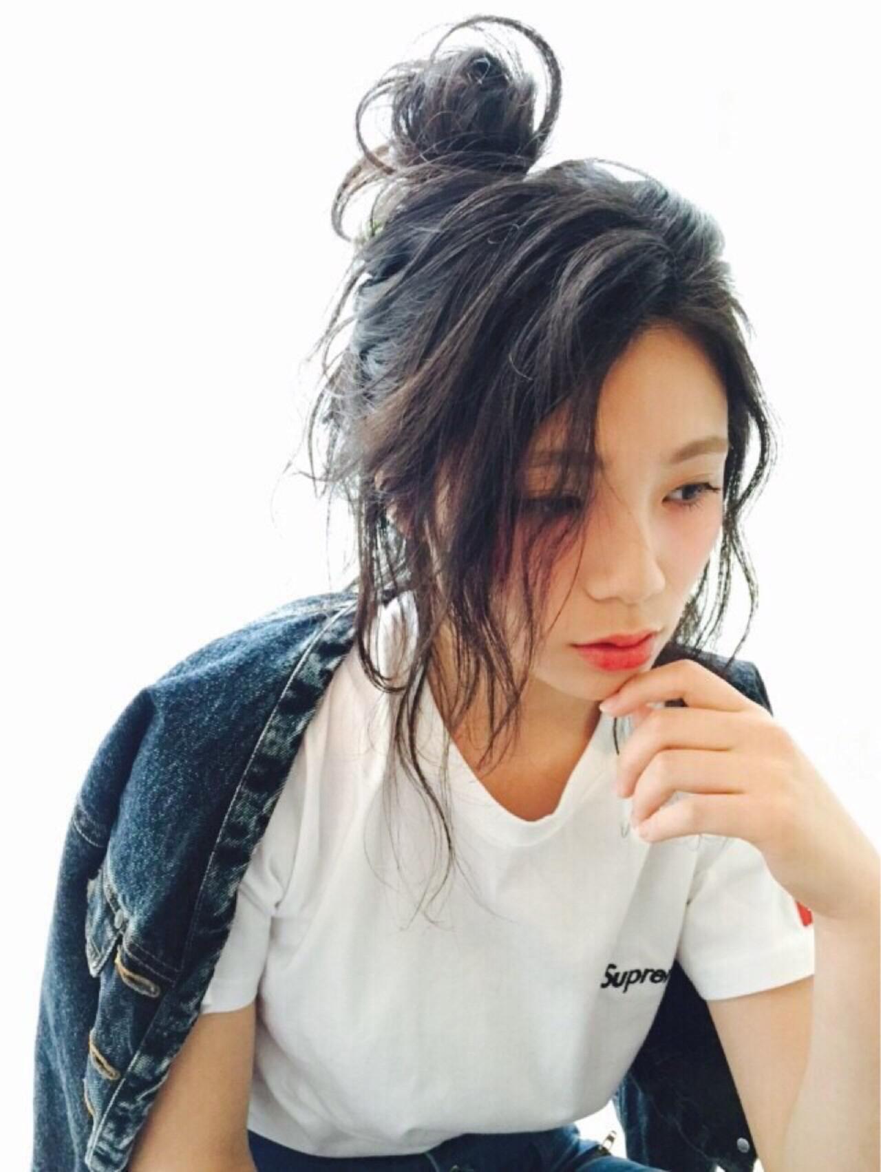 セミロング 外国人風 簡単ヘアアレンジ ストリート ヘアスタイルや髪型の写真・画像 | 青木 優香 /