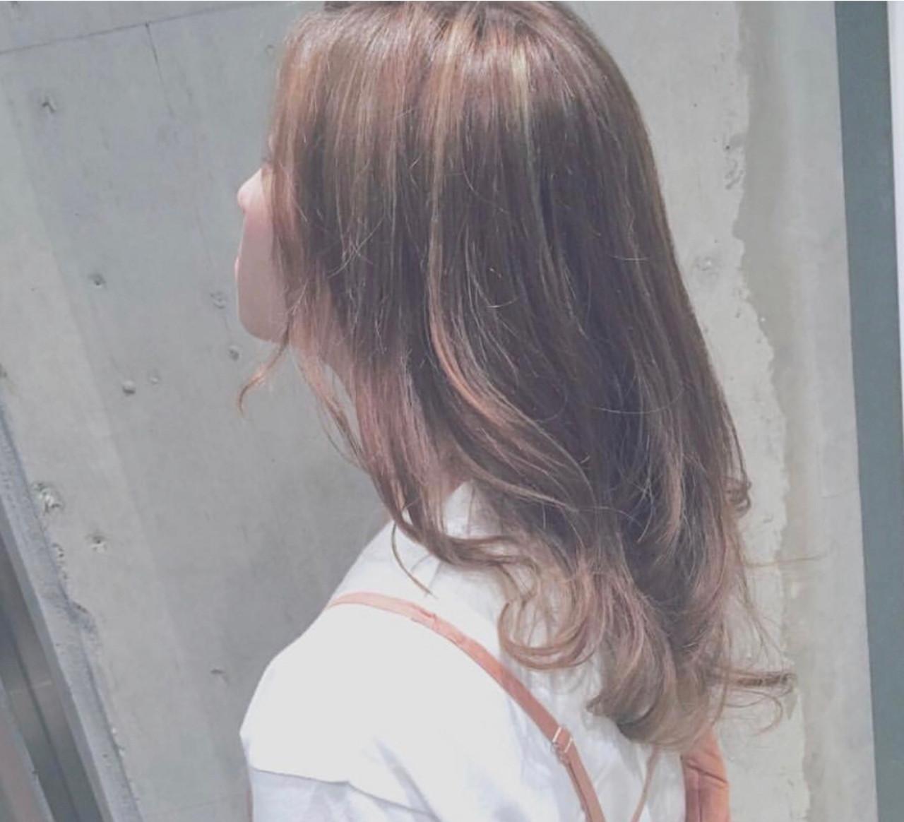 オレンジ レイヤー セミロング フェミニン ヘアスタイルや髪型の写真・画像 | haruca shiono / imaii scaena×colore