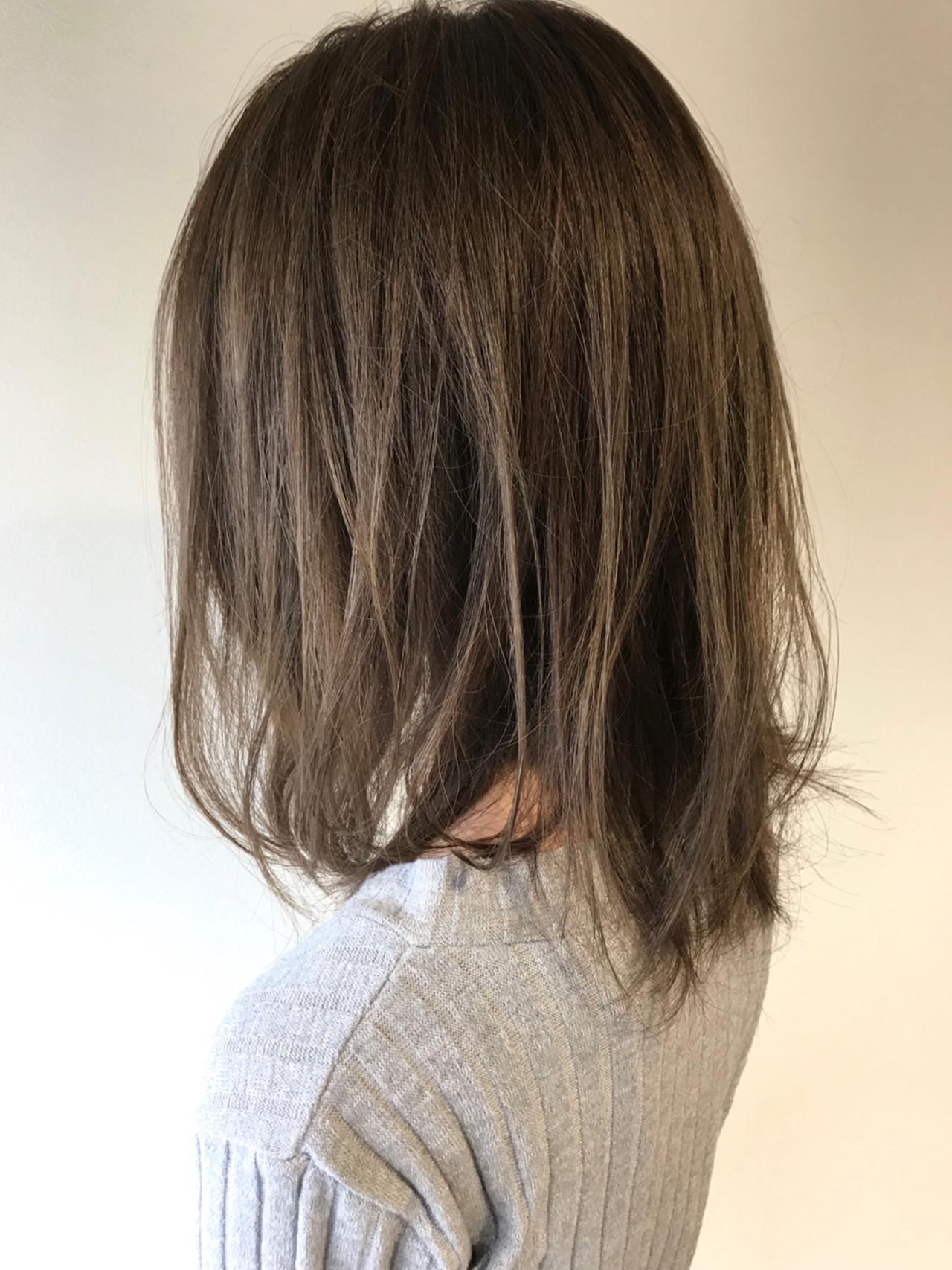 無造作 ハイライト 透明感 ミディアム ヘアスタイルや髪型の写真・画像 | Akira Takishima / BOTANIUM