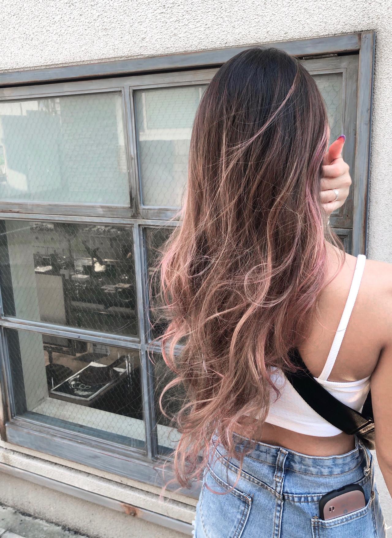 インナーカラー ユニコーンカラー ロング バレイヤージュ ヘアスタイルや髪型の写真・画像 | RUMINA //高田ゆみこ / Rumina