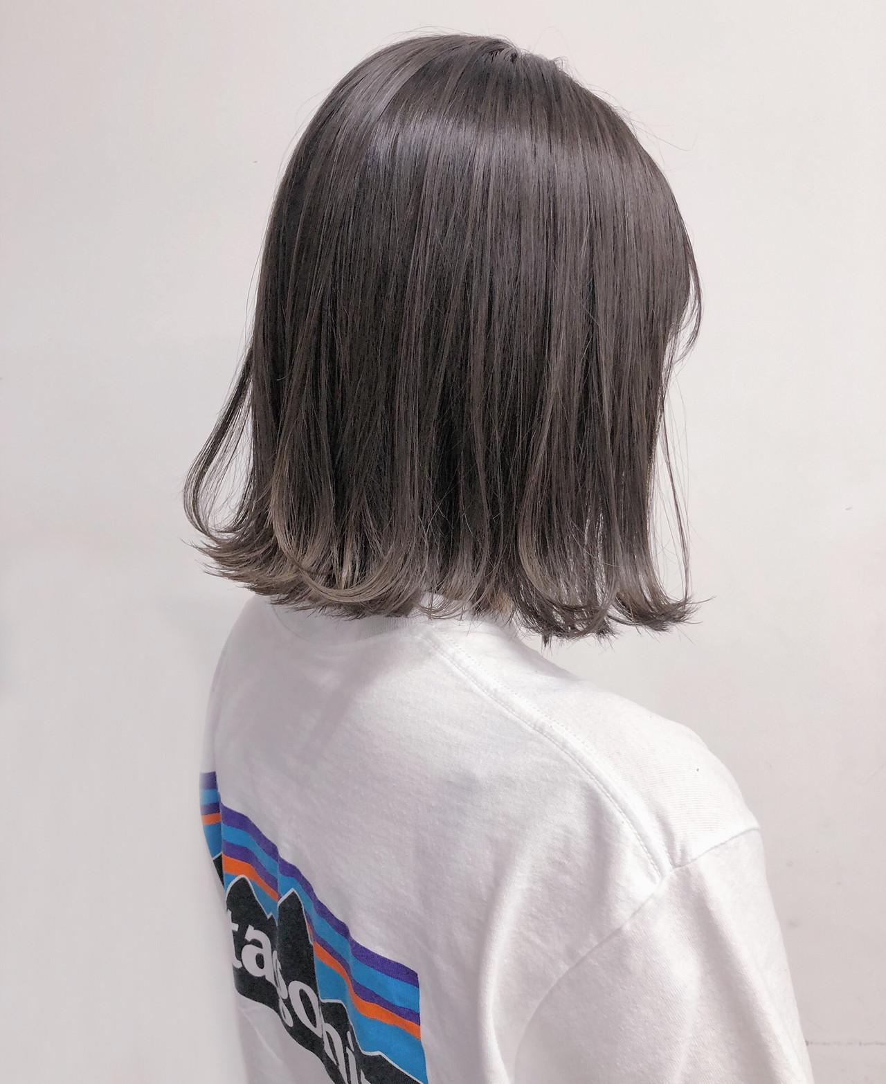 グレージュ 切りっぱなしボブ ラベンダーグレージュ ナチュラル ヘアスタイルや髪型の写真・画像 | ryota 【ALIVE harajuku】 / ALIVE harajuku