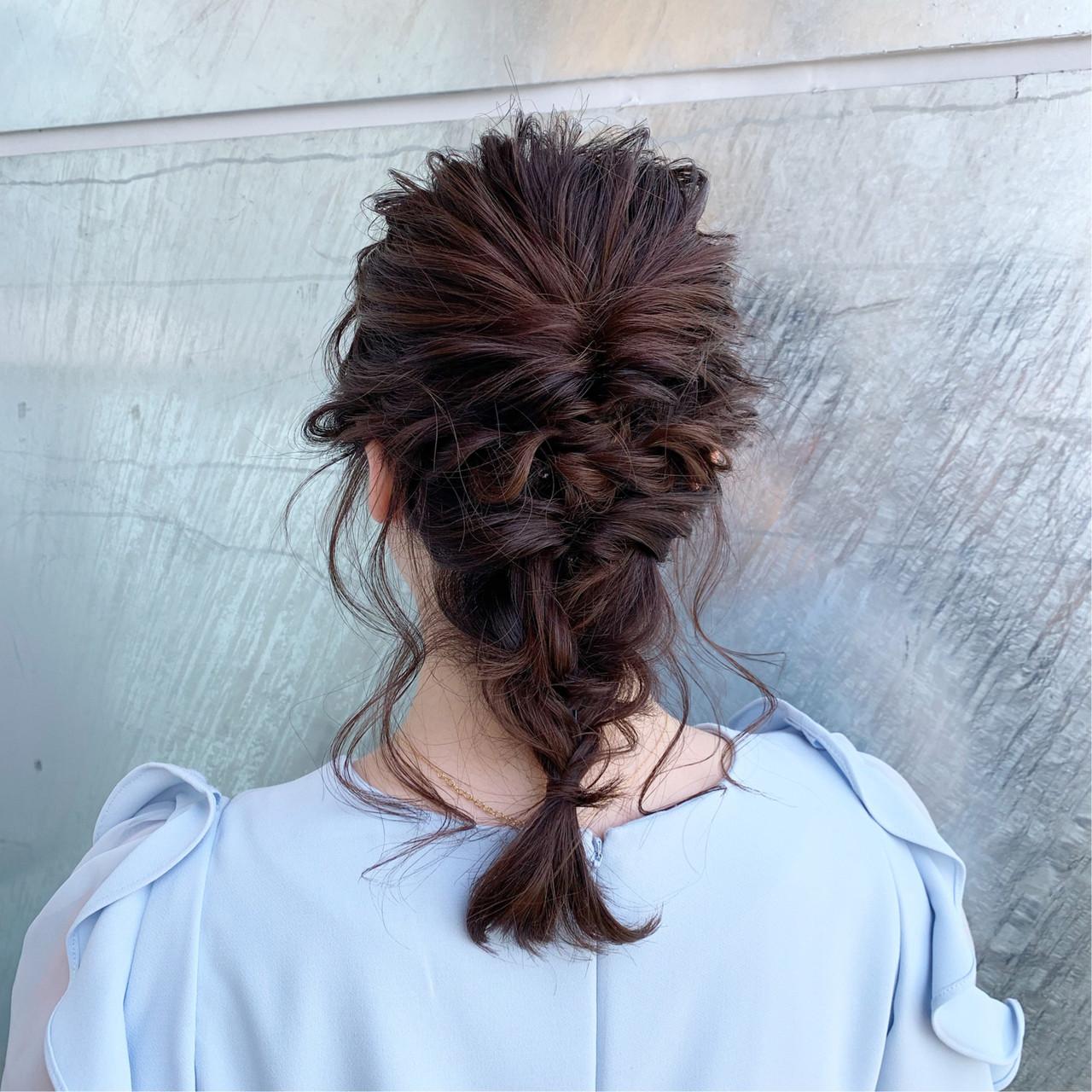 フェミニン ゆるふわ 結婚式 セミロングヘアスタイルや髪型の写真・画像