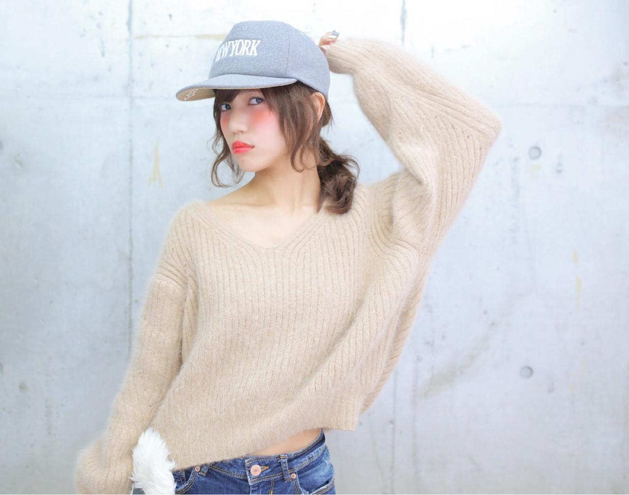 ラフ 簡単ヘアアレンジ フェミニン キャップ ヘアスタイルや髪型の写真・画像 | 高瀬 功二 / Liliy