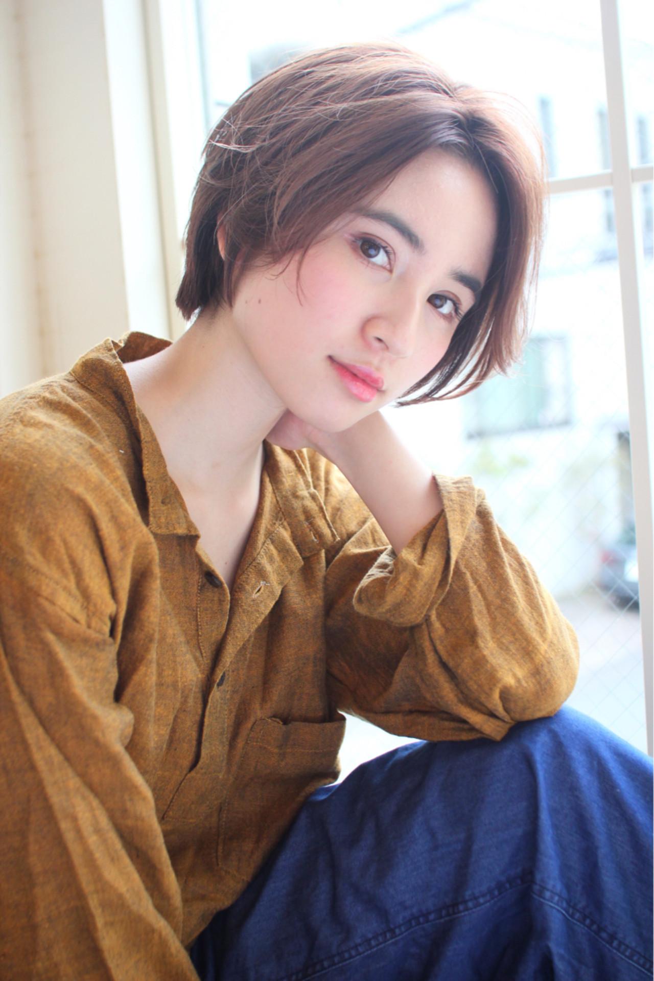 前髪あり センターパート ショート こなれ感 ヘアスタイルや髪型の写真・画像 | 高橋苗 / GARDENharajuku