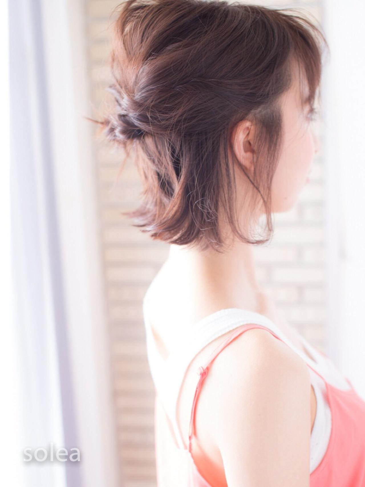 ヘアアレンジ 色気 ボブ ミディアム ヘアスタイルや髪型の写真・画像 | yuuki solea / solea(ソレア)福岡 天神 大名