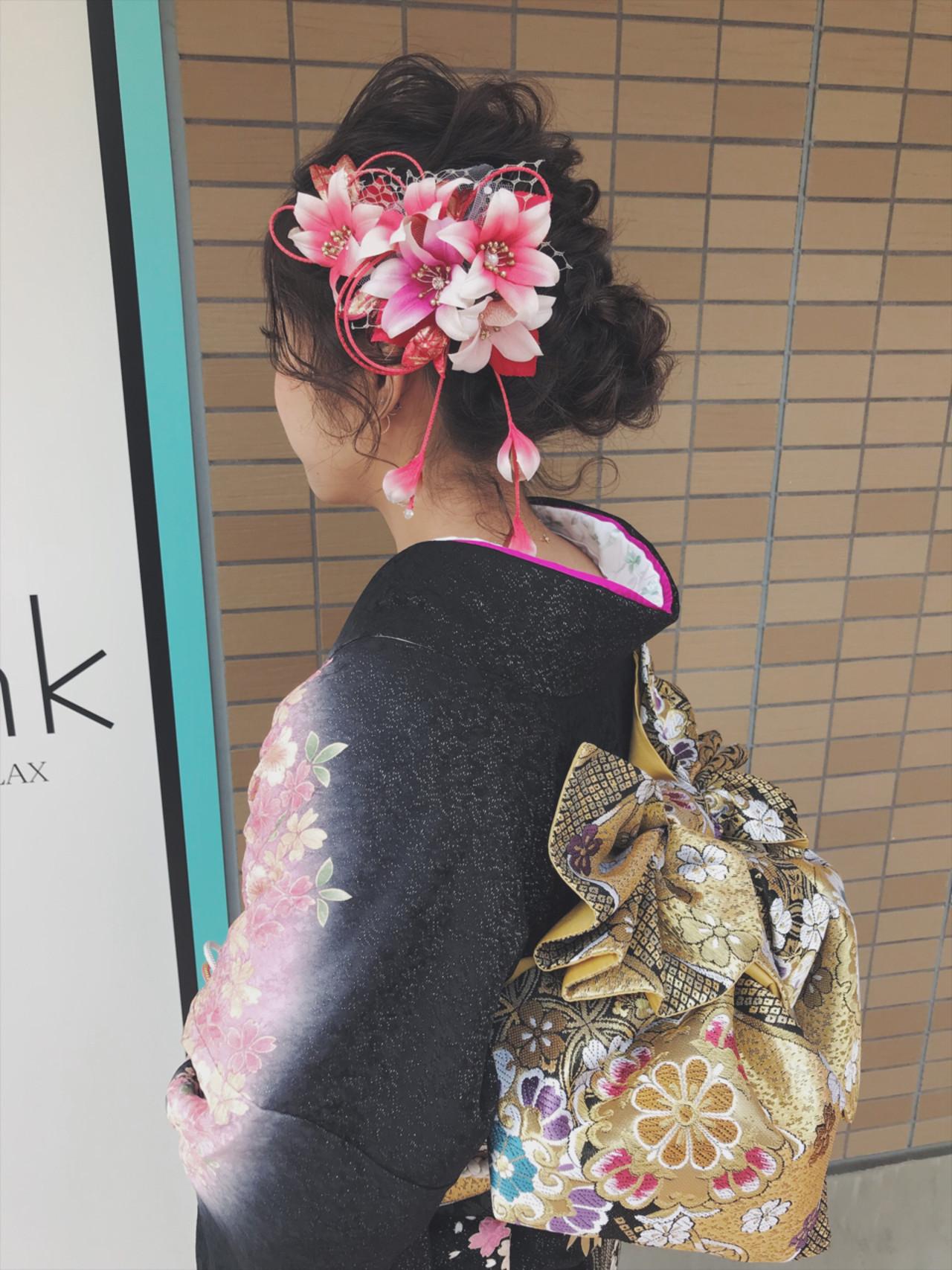 ガーリー 成人式 振袖 ヘアアレンジ ヘアスタイルや髪型の写真・画像 | 堀川 千枝 / mink HAIR&RELAX