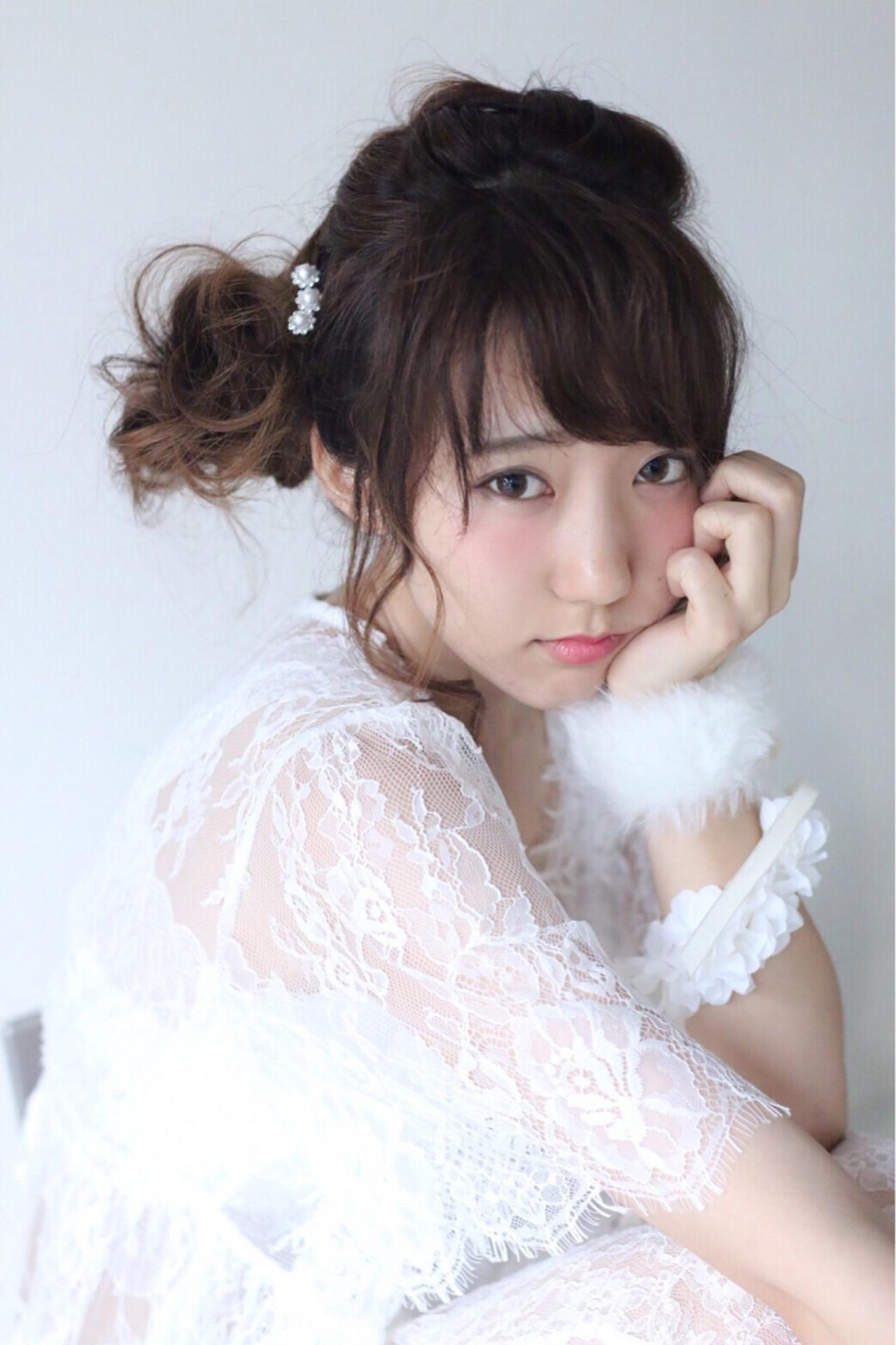 フェミニン ショート 簡単ヘアアレンジ ゆるふわ ヘアスタイルや髪型の写真・画像 | riho /