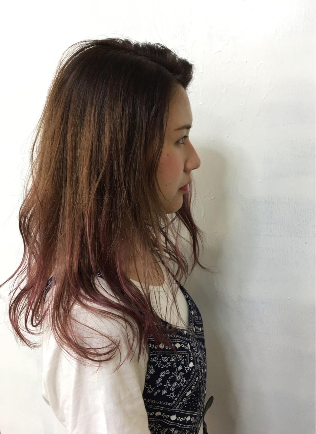 暗髪 外国人風 ハイライト ロングヘアスタイルや髪型の写真・画像