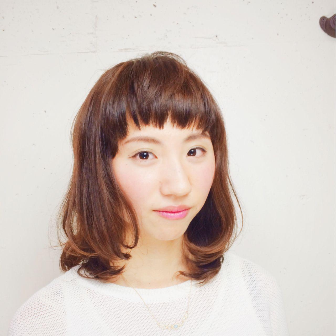 ナチュラル ミディアム ガーリー モテ髪 ヘアスタイルや髪型の写真・画像 | 山口 雄也 / BRAVE