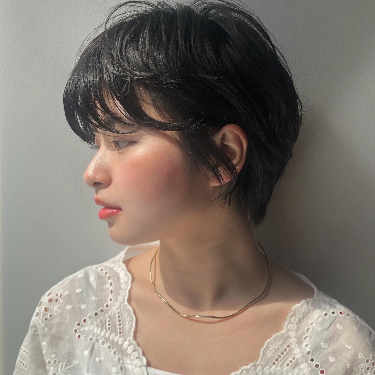 暗髪 ナチュラル デート ショート ヘアスタイルや髪型の写真・画像   Reina /