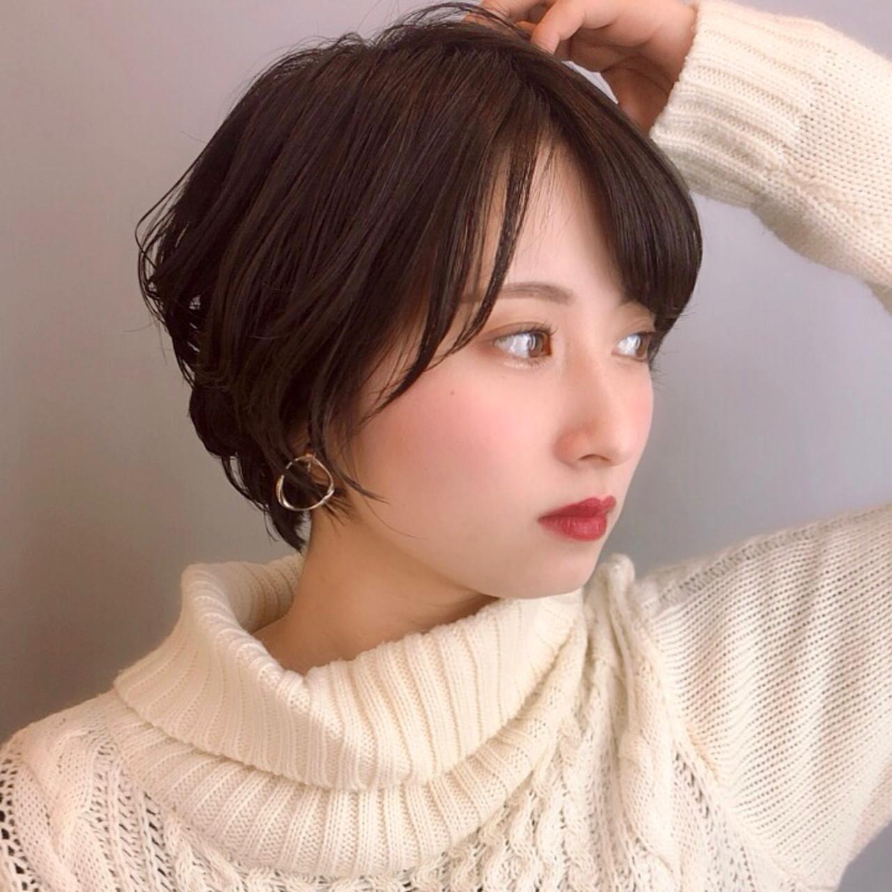 ショート アンニュイほつれヘア 可愛い 小顔ショートヘアスタイルや髪型の写真・画像