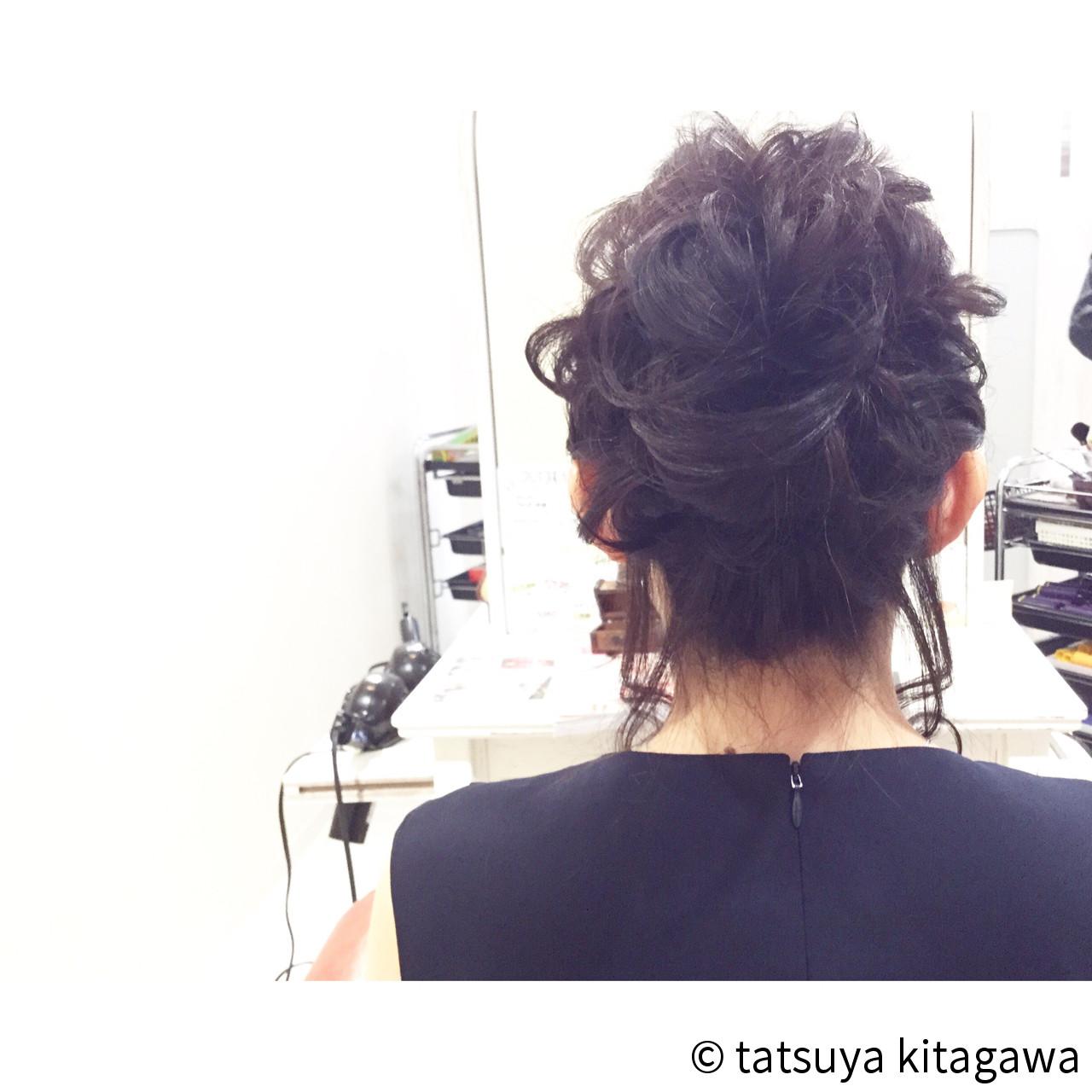 外国人風 セミロング お団子 上品ヘアスタイルや髪型の写真・画像