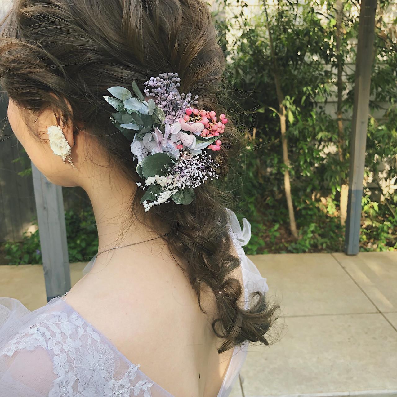 ヘアアレンジ ロング スモーキーカラー 結婚式 ヘアスタイルや髪型の写真・画像 | 冨永 真太郎 / 人トナリ