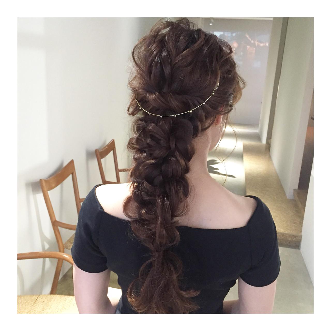 上品 編み込み エレガント ロング ヘアスタイルや髪型の写真・画像 | ヤマモト徹 / CHERIE hair design