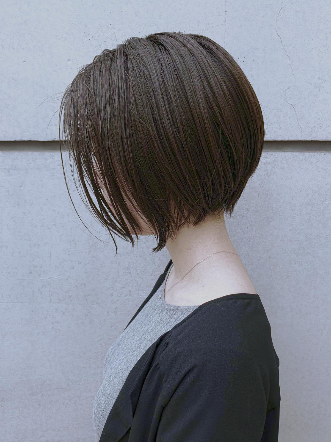 ショート 丸みショート ナチュラル ミニボブヘアスタイルや髪型の写真・画像