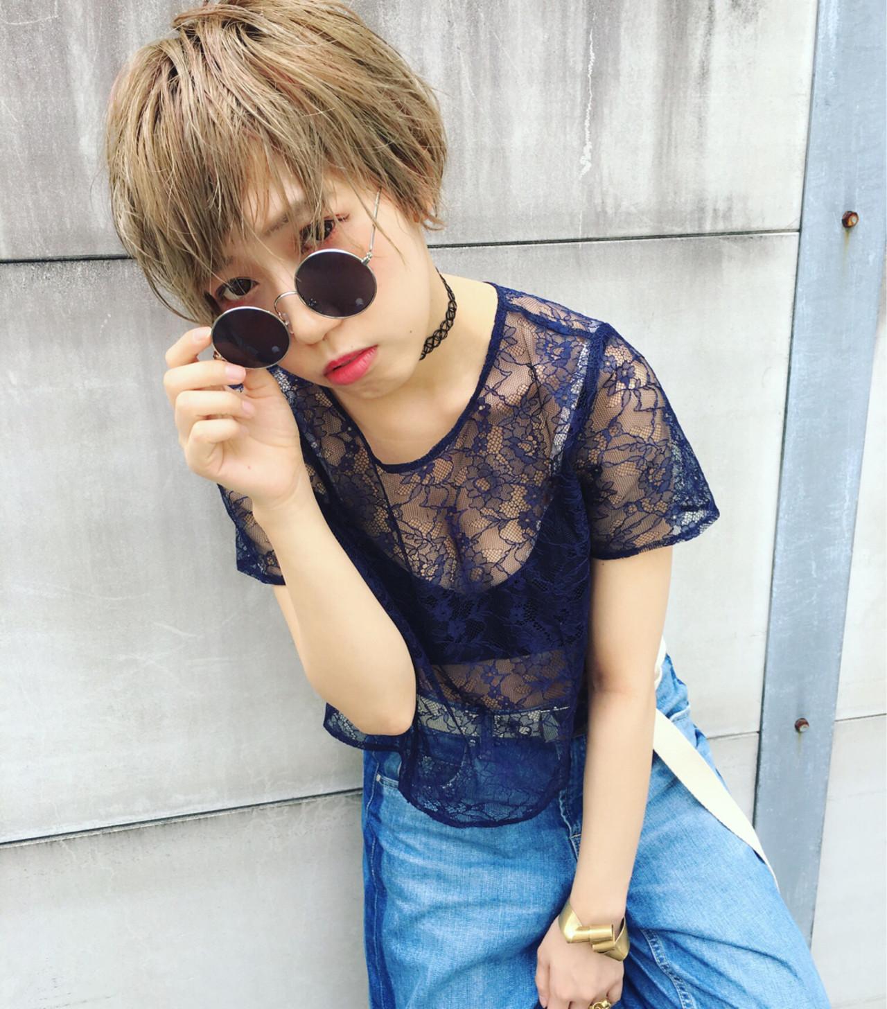 外国人風 ハイライト 大人かわいい ショート ヘアスタイルや髪型の写真・画像   浜田敦史 / Tiffa栄
