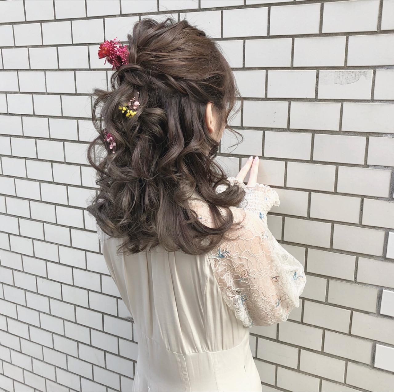 ヘアアレンジ ガーリー ハーフアップ デート ヘアスタイルや髪型の写真・画像 | hii.de@✂︎ / Maison de sisi
