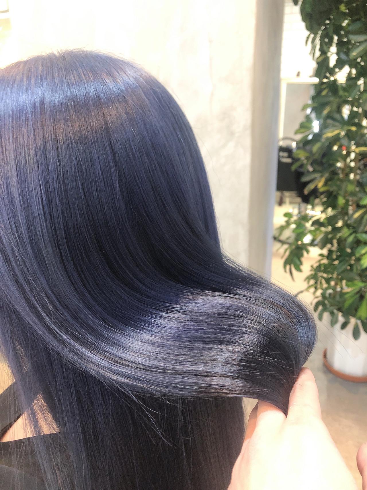 ブルーブラック モード ブルーラベンダー ブルーアッシュ ヘアスタイルや髪型の写真・画像
