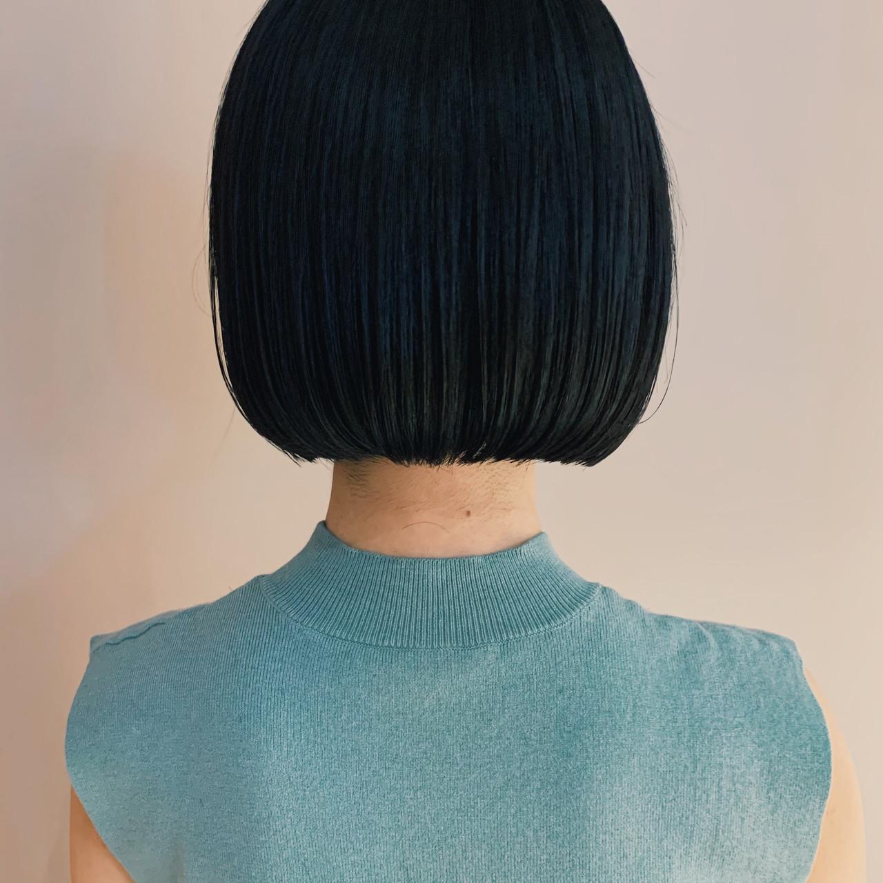 ショートボブ 暗髪 ミニボブ ナチュラルヘアスタイルや髪型の写真・画像