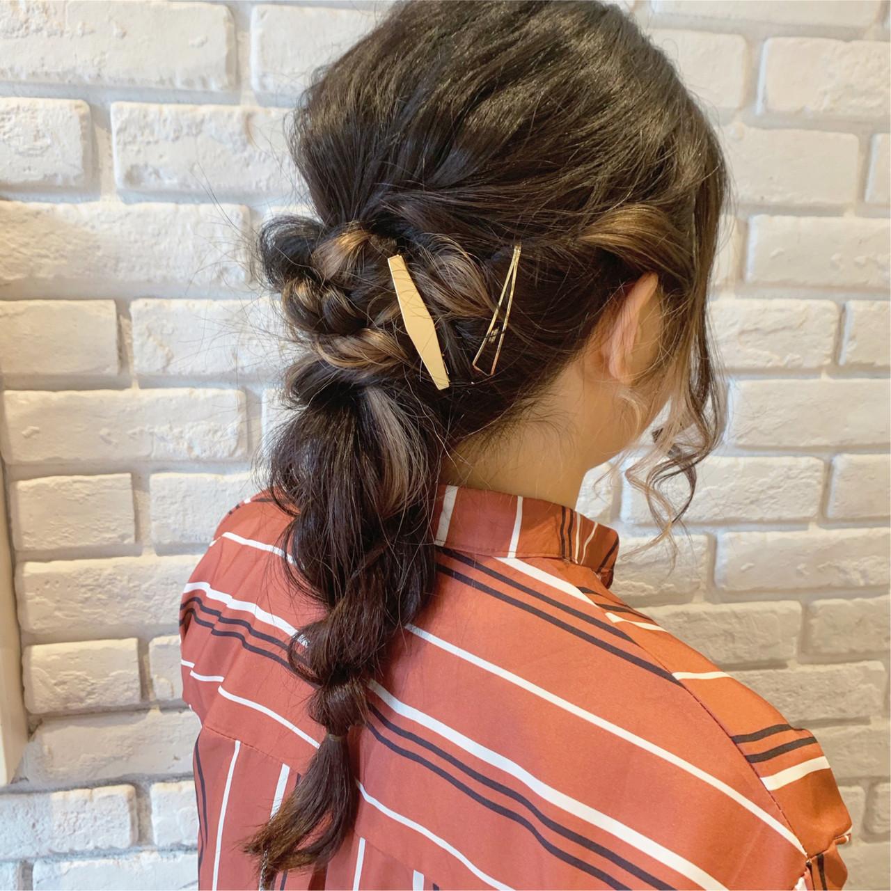 編みおろし ヘアアレンジ ロング ナチュラル ヘアスタイルや髪型の写真・画像