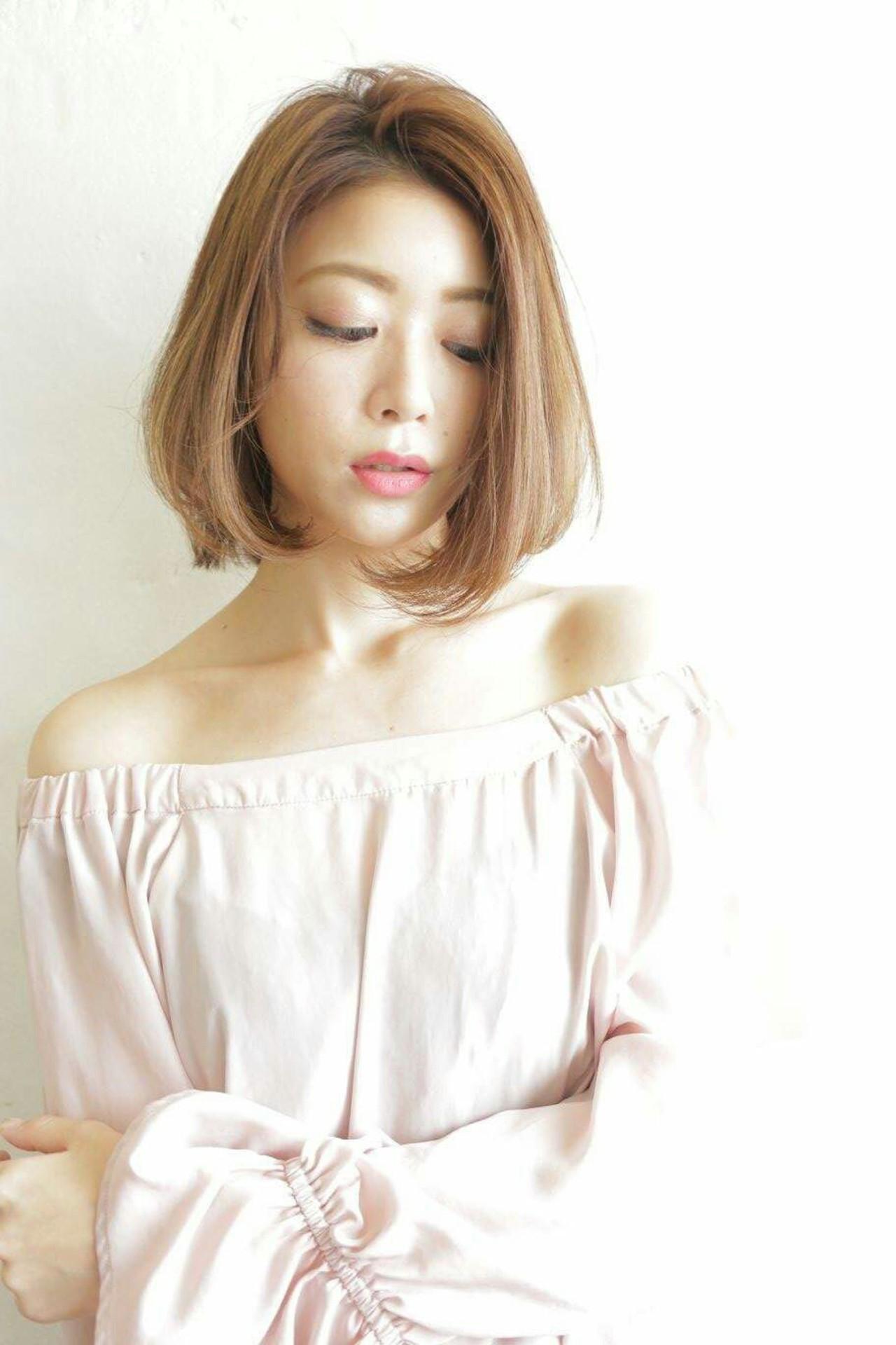 ボブ 女子会 デート 大人かわいい ヘアスタイルや髪型の写真・画像   澤近 直輝 / grace by afloat