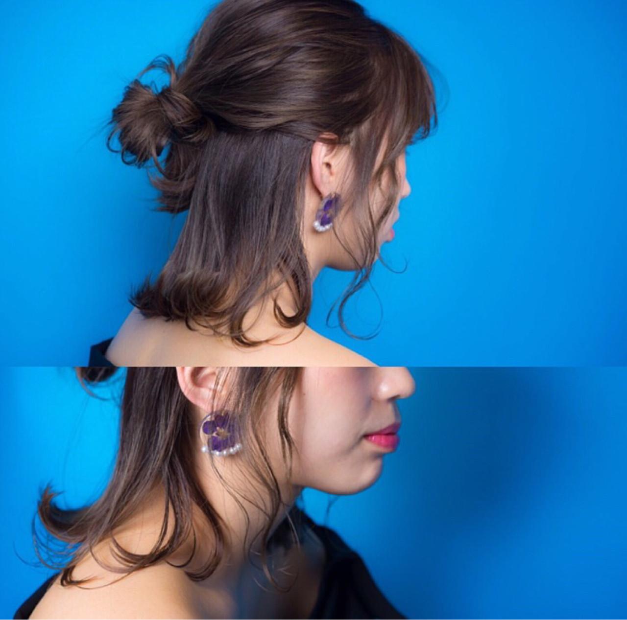 フェミニン イルミナカラー ボブ ヘアアレンジヘアスタイルや髪型の写真・画像