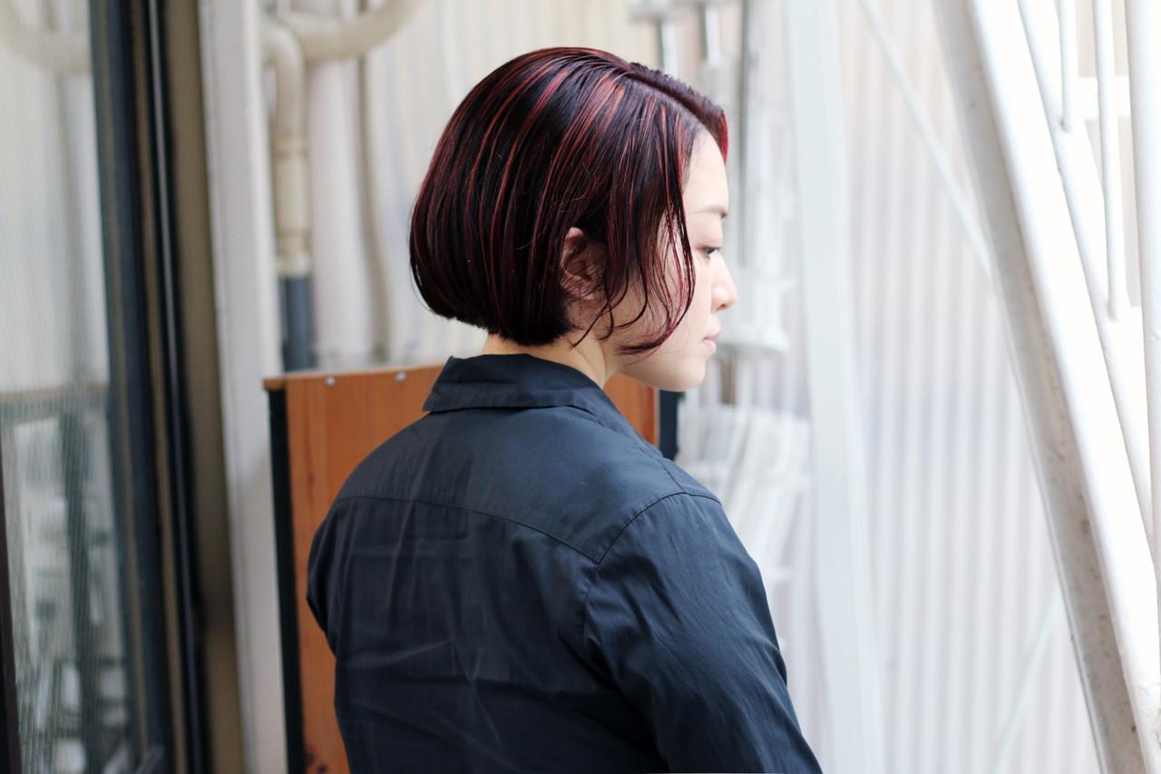 ボブ ストリート ショートヘア 切りっぱなしボブ ヘアスタイルや髪型の写真・画像 | COM PASS 太一 / COM PASS
