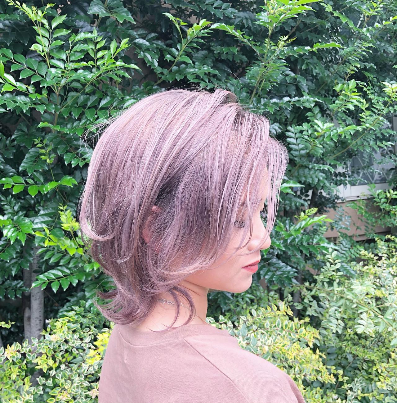 インナーカラー ハイライト ユニコーンカラー ボブ ヘアスタイルや髪型の写真・画像 | RUMINA //高田ゆみこ / Rumina