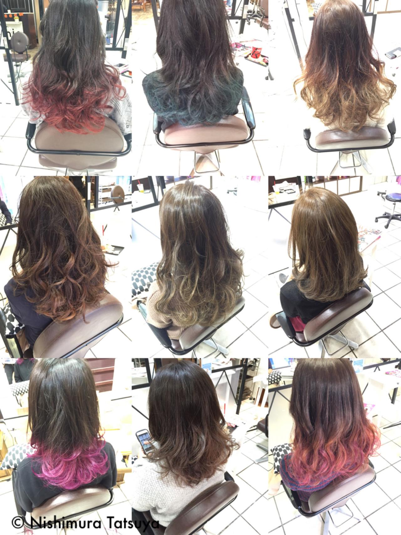 モード ミディアム グラデーションカラー ダブルカラー ヘアスタイルや髪型の写真・画像   Nishimura Tatsuya / design hair annis