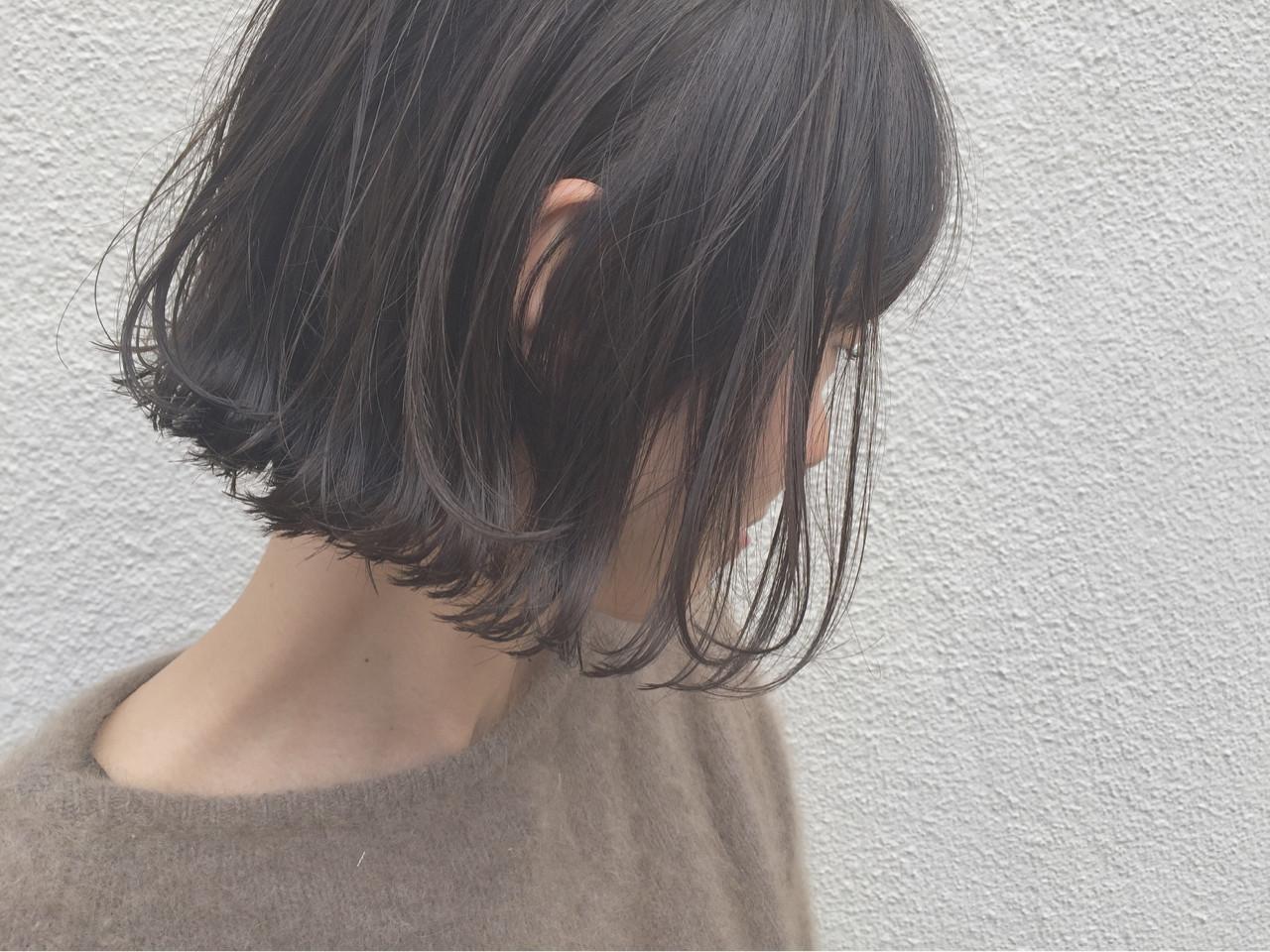 アッシュ ボブ 外ハネ ナチュラル ヘアスタイルや髪型の写真・画像 | KENTO.NOESALON / NOE SALON