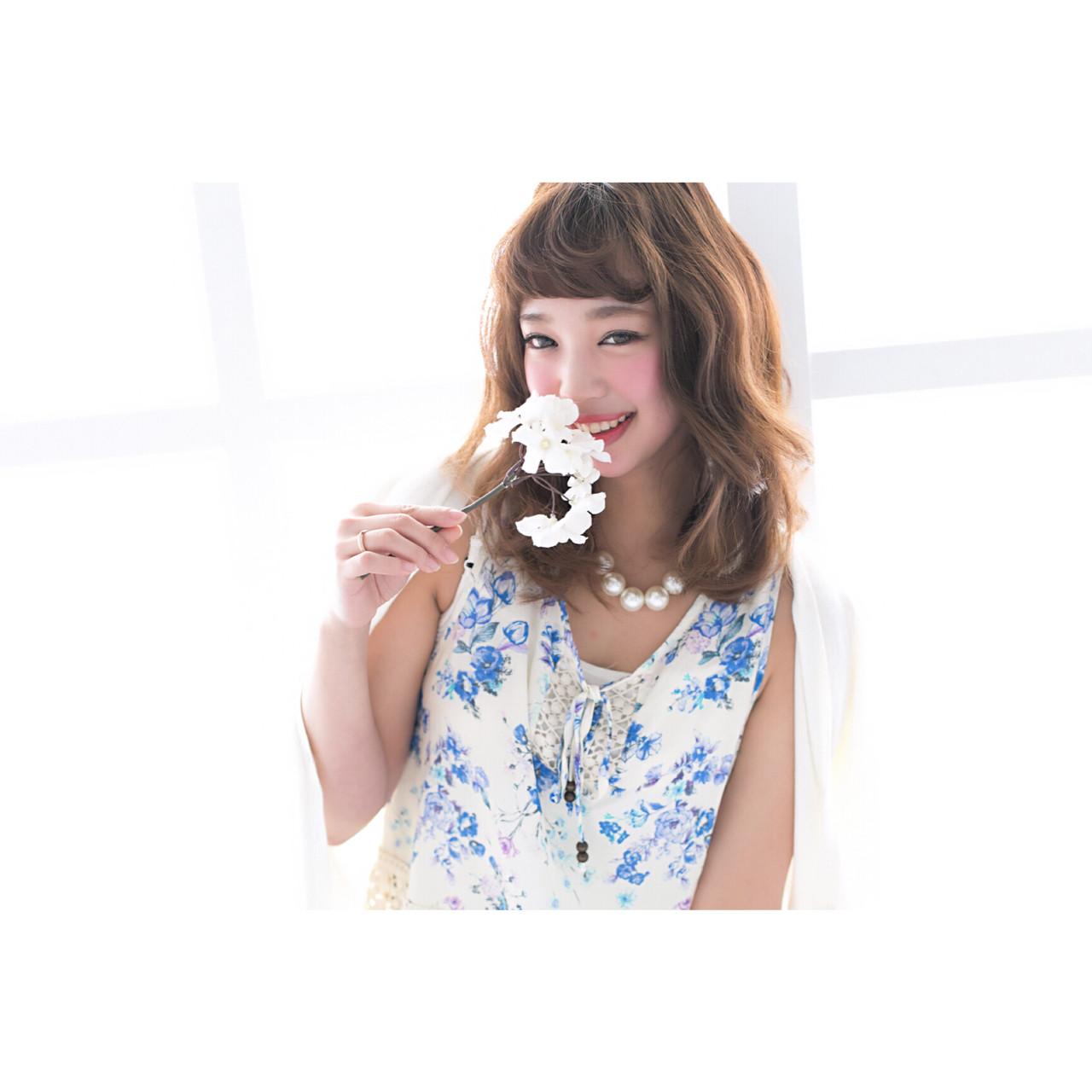 ナチュラル 前髪あり 透明感 フェミニン ヘアスタイルや髪型の写真・画像 | Ryuho / STELLA sannomiya