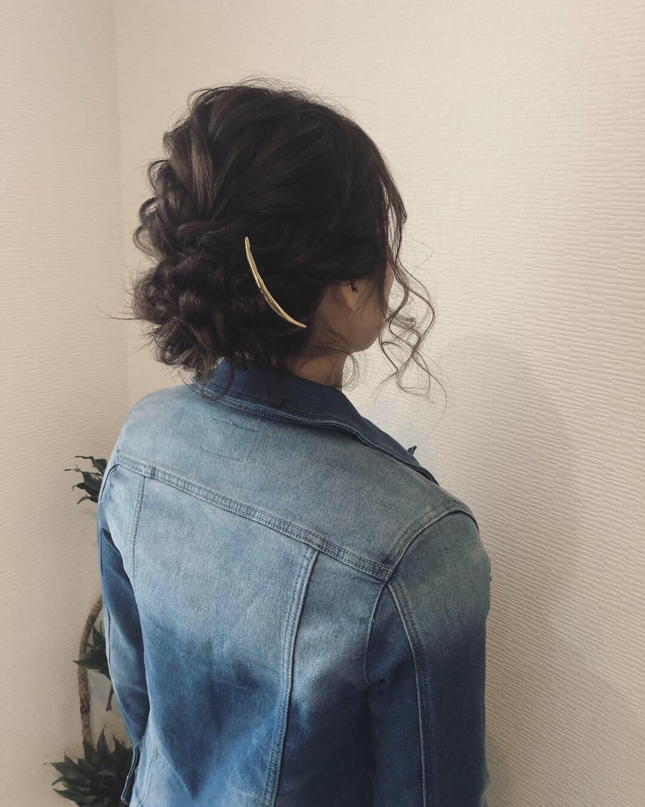 フェミニン ヘアセット ミディアム 編み込み ヘアスタイルや髪型の写真・画像   mai / HAIR SALON STELLA