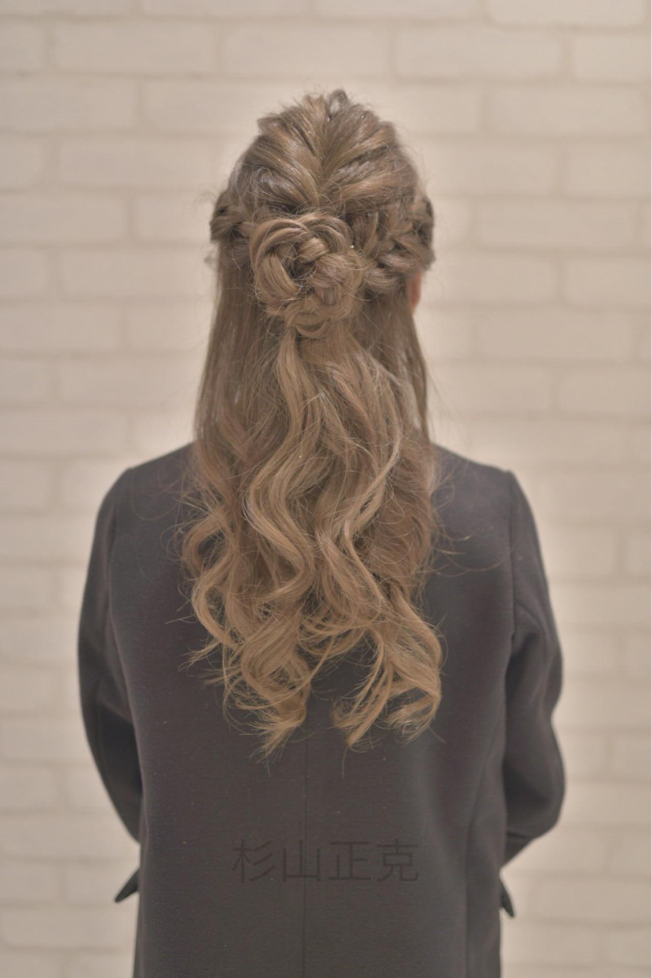 大人かわいい ハーフアップ アッシュ ロングヘアスタイルや髪型の写真・画像