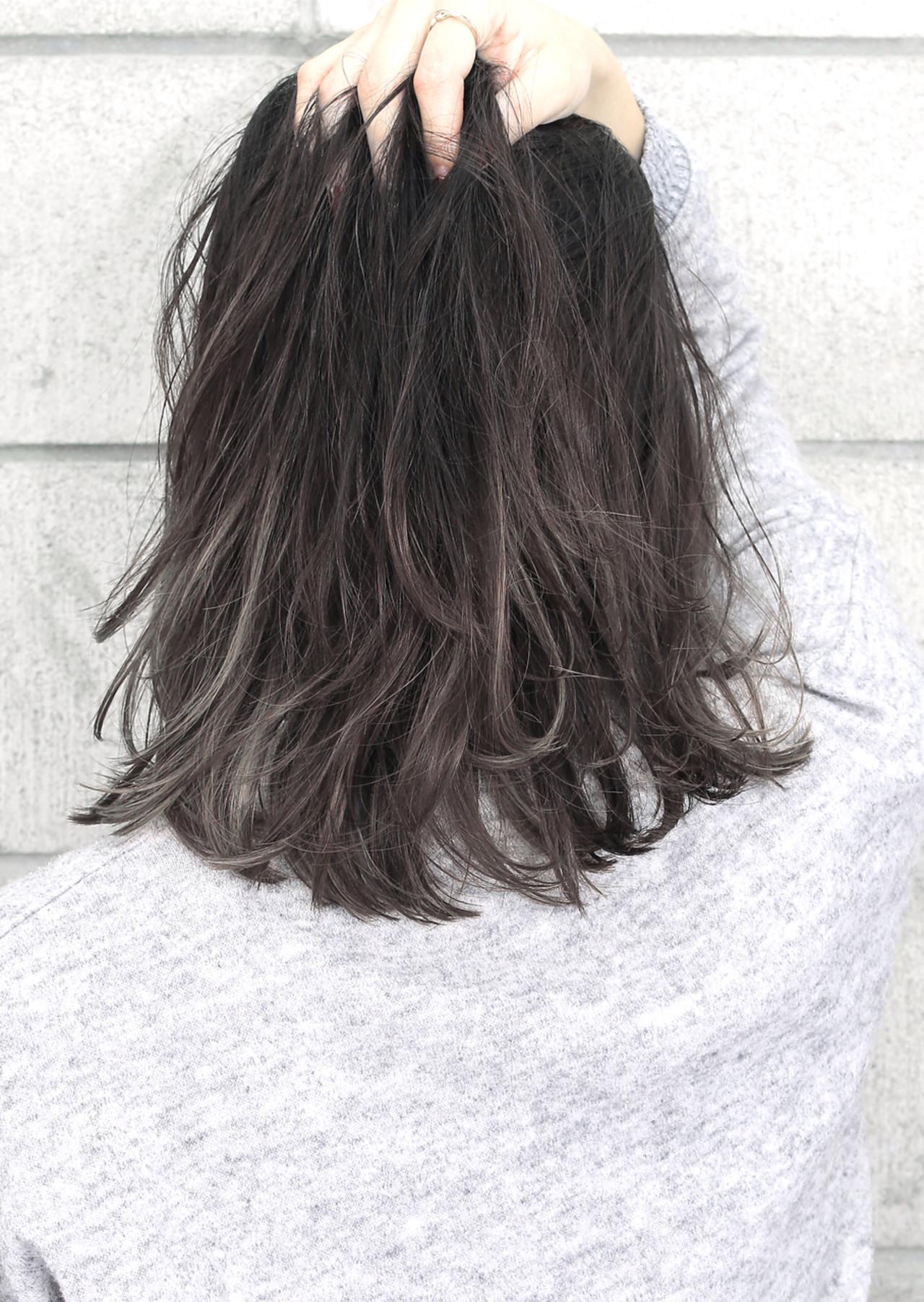 暗髪 外国人風 ミディアム 黒髪 ヘアスタイルや髪型の写真・画像   中村 飛鳥 hair salon Gallica / hair salon Gallica