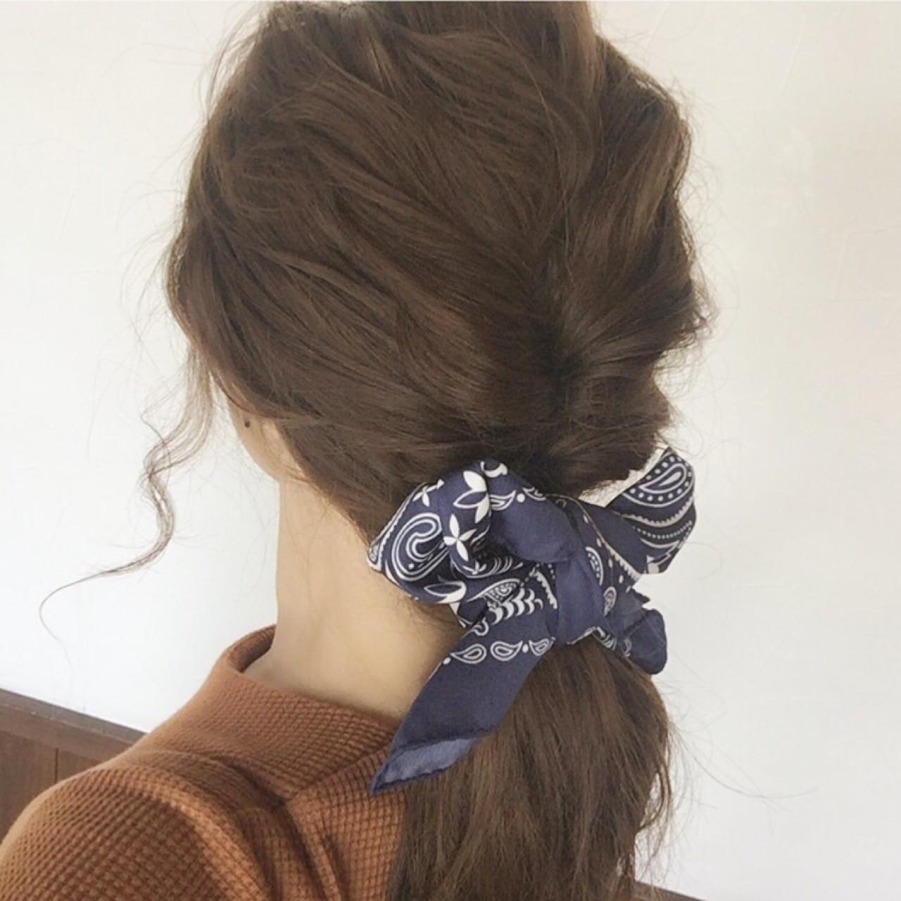 ポニーテール×スカーフで作る簡単可愛いヘアスタイル♡ 大西未紗
