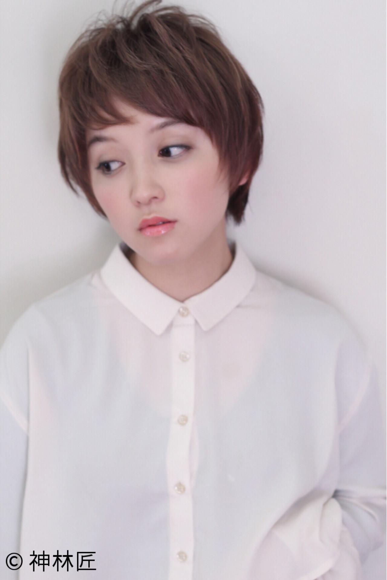 小顔 ガーリー ショートバング 似合わせ ヘアスタイルや髪型の写真・画像   神林匠 / 髪庵 ゆかし (かみあん ゆかし)