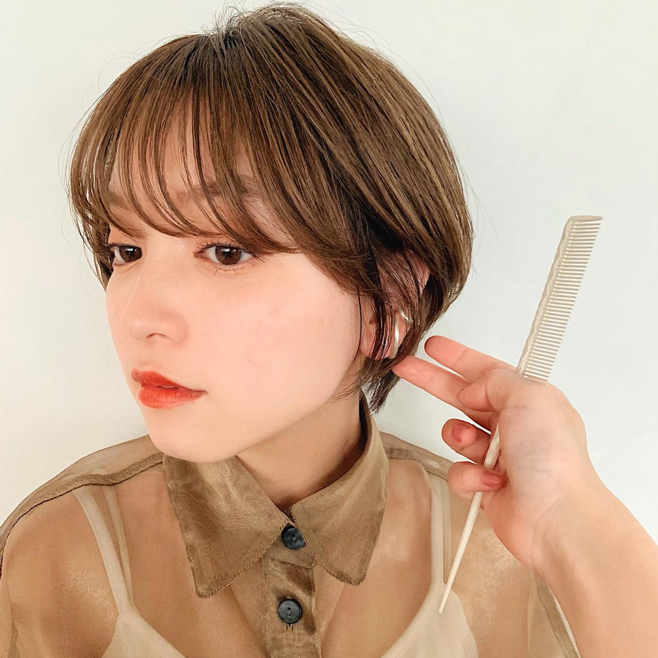デート 耳掛けショート ショート マッシュショート ヘアスタイルや髪型の写真・画像