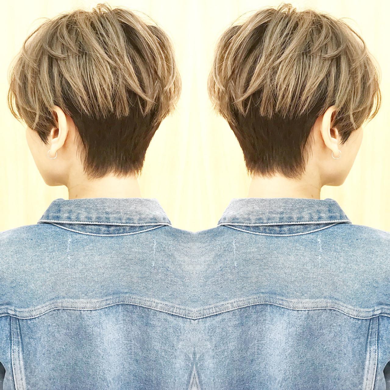 3Dハイライト デート ハイライト モード ヘアスタイルや髪型の写真・画像   ショートヘア美容師 #ナカイヒロキ / 『send by HAIR』