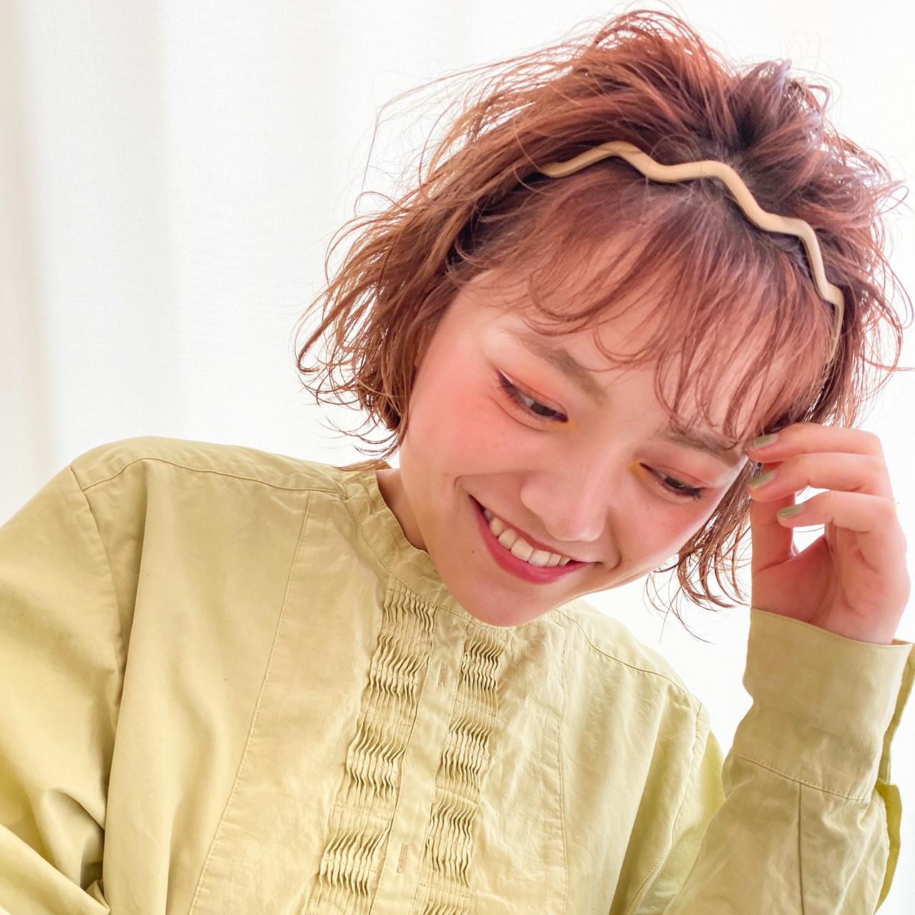 ボブ ナチュラル ヘアアレンジ 簡単ヘアアレンジ ヘアスタイルや髪型の写真・画像